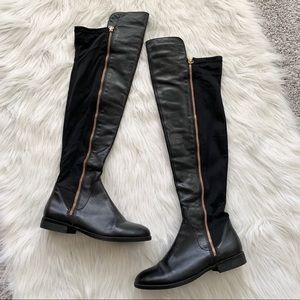 Over-The-Knee Black Leather Aldo Boots